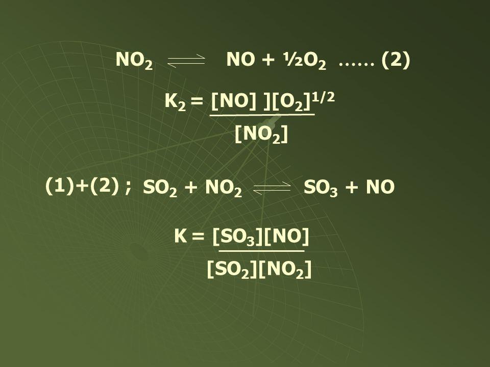 NO2 NO + ½O2 …… (2) K2 = [NO] ][O2]1/2. [NO2] (1)+(2) ; SO2 + NO2 SO3 + NO.